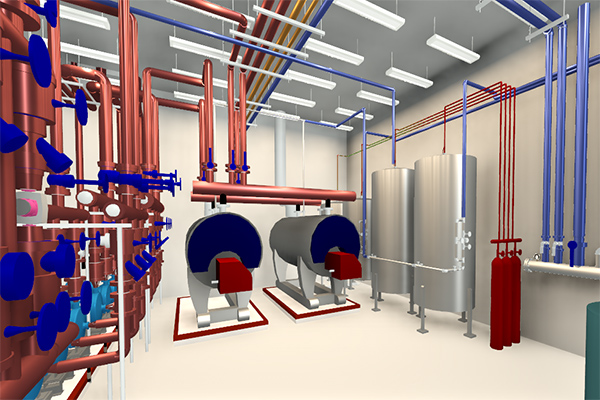 Commercial application Boiler Room 3D Modeling